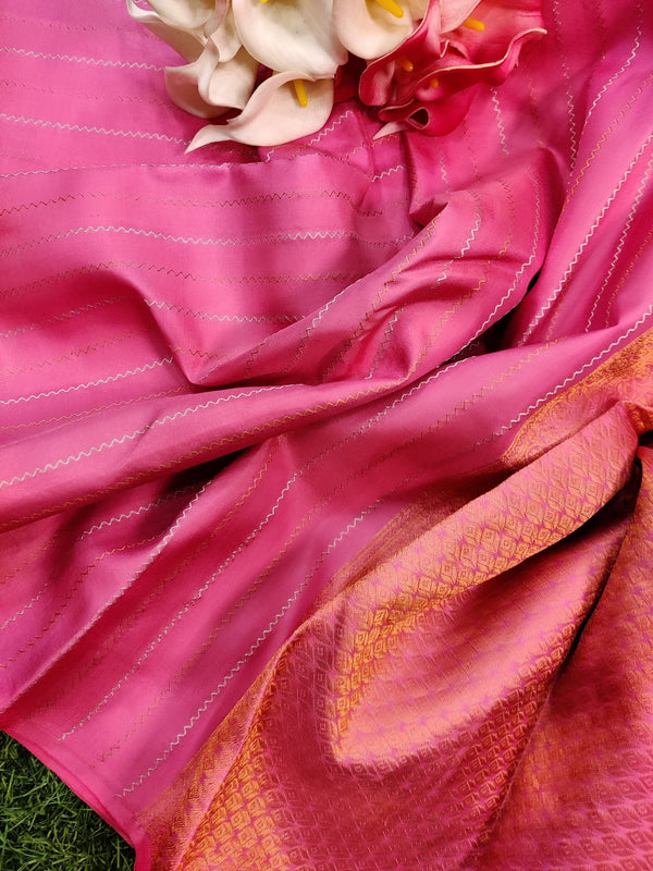 Pure kanchivaram silk saree pink and lime green with allover copper and silver zari lines in borderless style