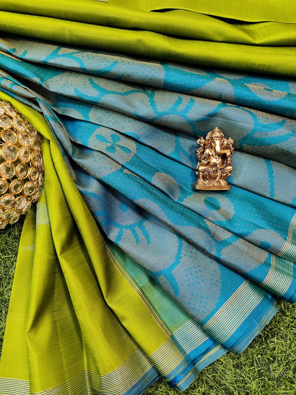 Pure kanchivaram silk saree light green and blue with zari woven buttas and simple zari border