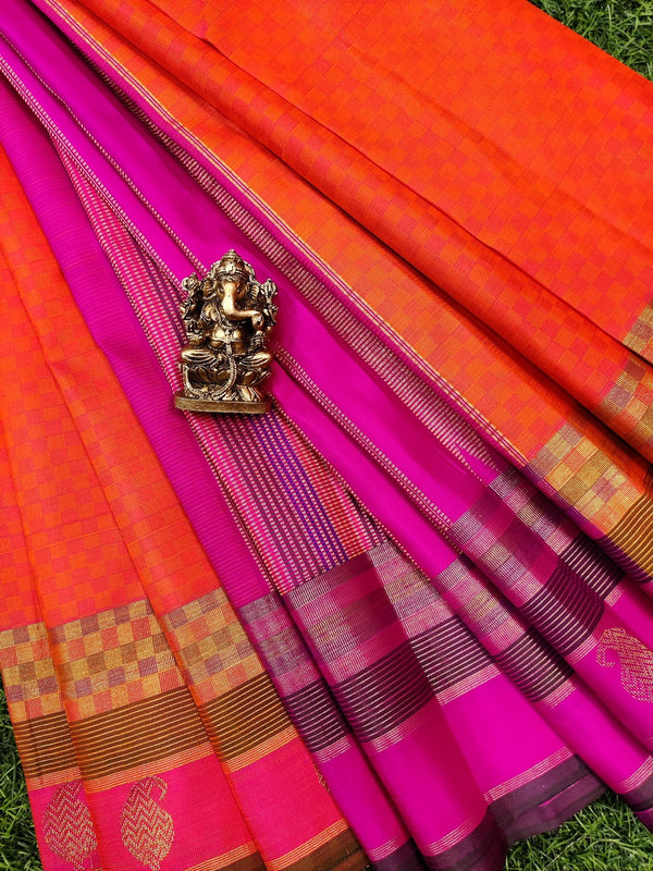 Pure kanchivaram silk saree orange and pink checked pattern with zari woven butta border
