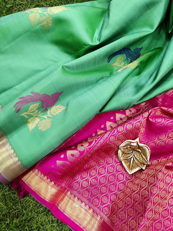 Pure kanchivaram silk saree teal green and pink with thread and zari woven buttas with zari woven border