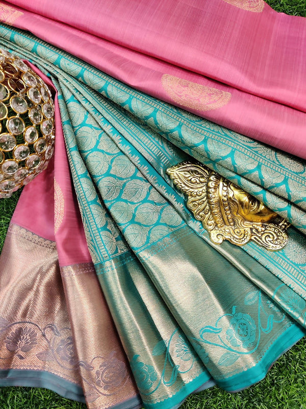 Pure kanchivaram silk saree pink and green with copper zari buttas and rich zari woven border