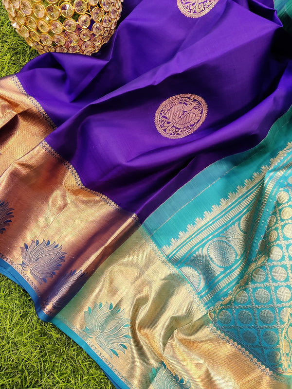 Pure kanchivaram silk saree royal blue with copper zari buttas and rich zari woven border