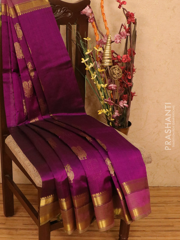 Silk cotton saree purple and green with zari woven buttas and rettapet border for Rs.Rs. 4780.00 | Silk Cotton Sarees by Prashanti Sarees