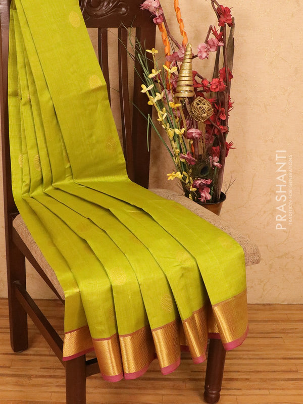 Silk cotton saree lime green and pink with zari woven coin buttas and zari woven border