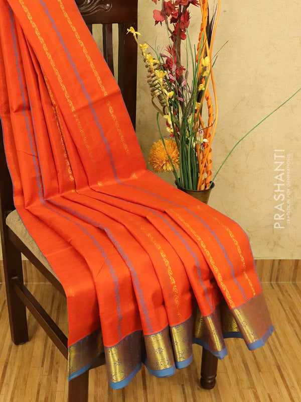 Silk cotton saree orange and cs blue with thread and zari lines and zari woven border