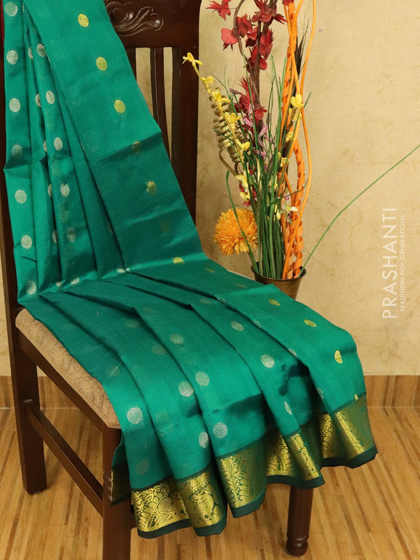 Silk cotton saree peacock green and deep maroon with zari woven coin buttas and zari woven border