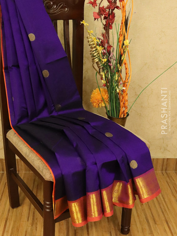 Silk cotton saree blue and orange with zari woven coin buttas and zari woven border