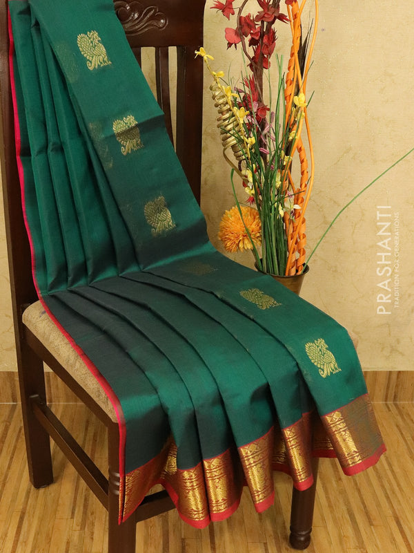 Silk cotton saree peacock green and pink with zari woven coin buttas and zari woven border