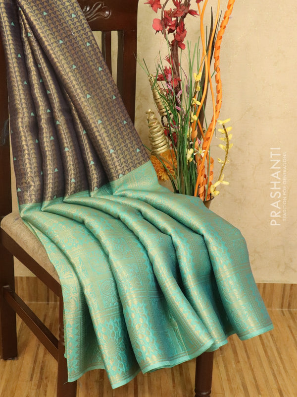Banarasi kora saree blue and teal with allover zari weaves and long zari border