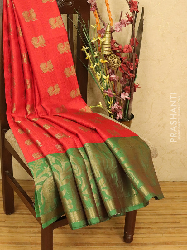 Banarasi kora saree red and green with allover self emboss and zari buttas with zari butta border
