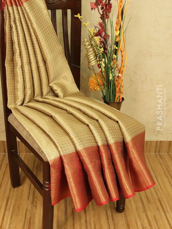 Banarasi kora saree beige and maroon with allover zari weaves and zari woven border