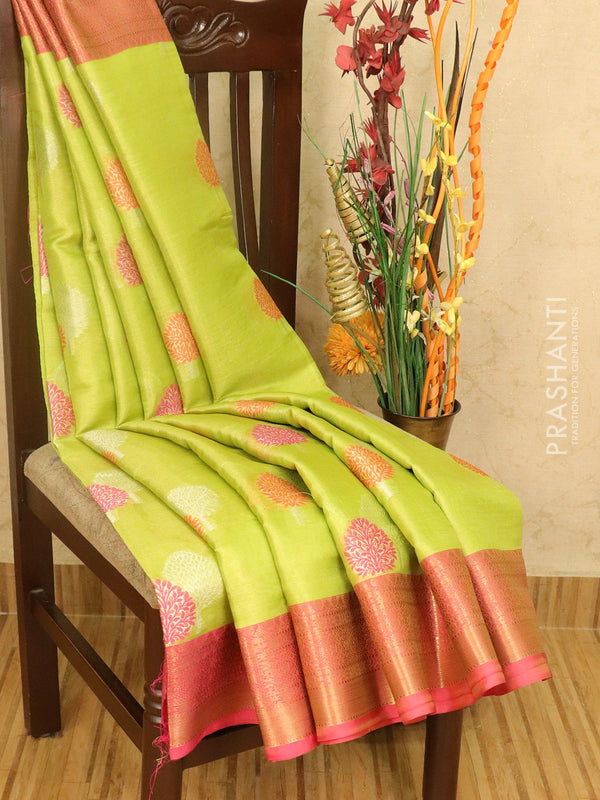 Banarasi kora tissue saree light green and pink with thread and zari woven tree buttas with zari border