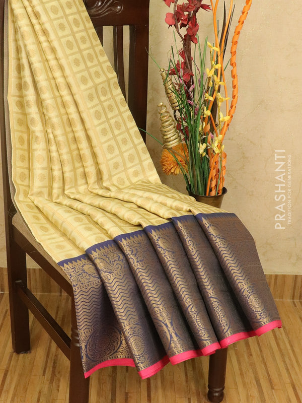 Banarasi kora saree cream and blue zari checked pattern with zari buttas and rich zari border