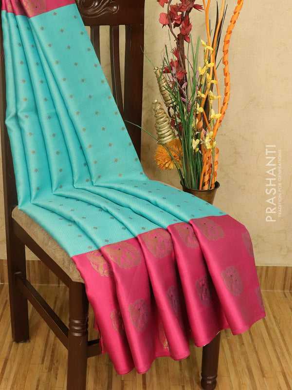 Banarasi kora saree light blue and pink allover self emboss with small zari buttas and zari butta border