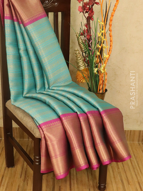 Banarasi kora saree light blue and pink with allover zari weaves and rich zari border