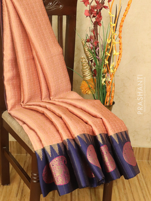 Banarasi kora saree pink and blue zari checked pattern with zari buttas and zari butta border