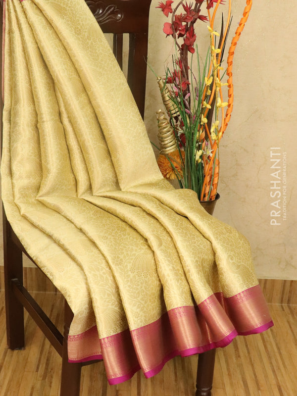 Banarasi kora saree cream and pink with allover floral zari weaves and zari woven border