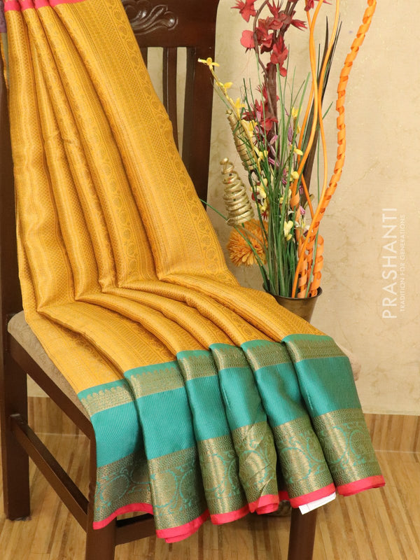 Banarasi kora saree mystard yellow and teal blue with allover zari weaves and zari woven border