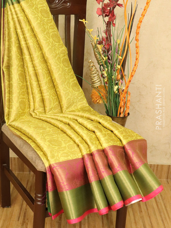 Banarasi kora saree lime yellow and green with allover floral zari weaves and zari woven border