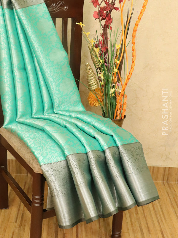 Banarasi kora saree teal and grey with allover zari weaves and rich zari woven border