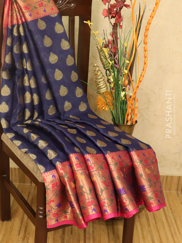 Banarasi kora saree blue and pink with zari woven buttas and rich zari border