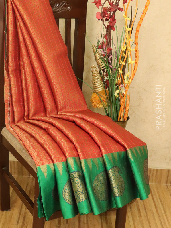 Banarasi kora saree red and green zari checked pattern with zari buttas and zari butta border