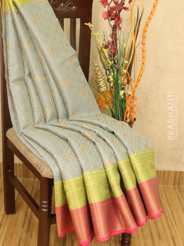 Banarasi kora saree grey and pink allover self emboss with small zari buttas and zari border