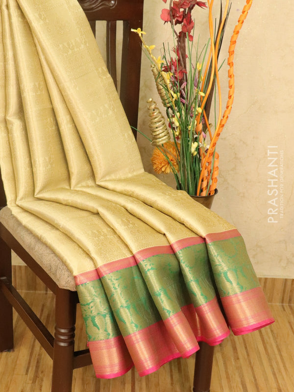 Banarasi kora saree beige and pink with allover zari weaves and zari wove border