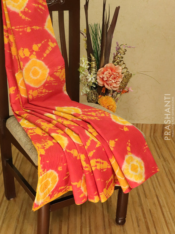Jaipur cotton saree reddish pink with tie and dye prints in borderless style