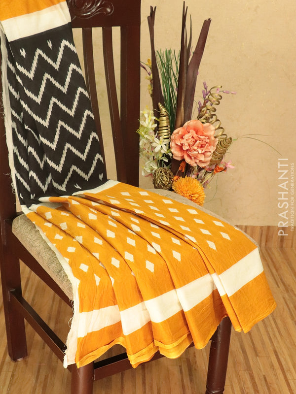 Jaipur cotton saree black and mustard yellow with zig zag prints and plain border
