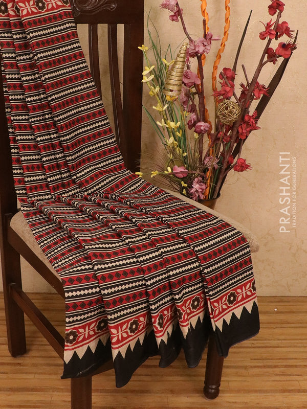 Jaipur cotton saree black and red with allover prints and plain border