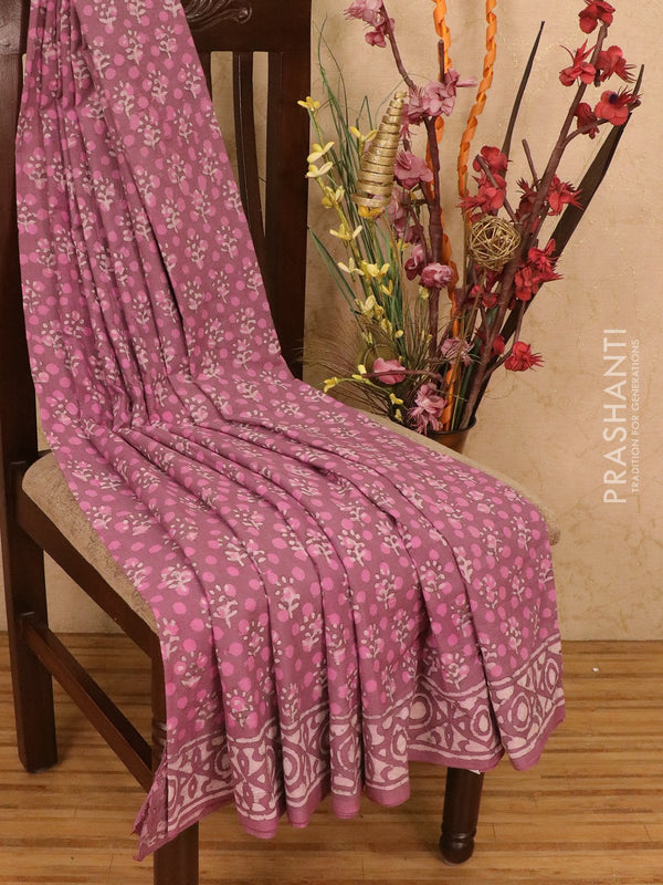 Jaipur cotton saree pink shade with dabu prints and printed border