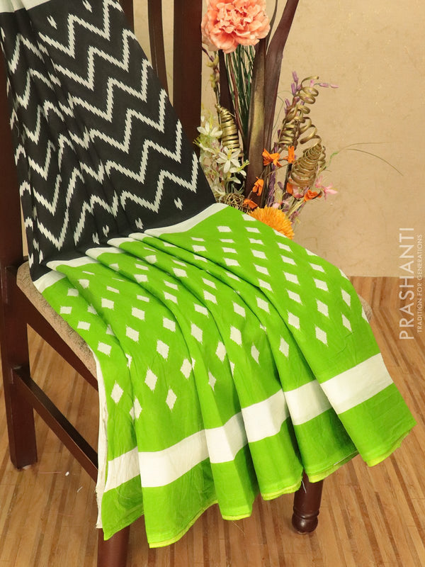 Jaipur cotton saree black and green with zig zag prints and printed border for Rs.Rs. 895.00 | Cotton Sarees by Prashanti Sarees
