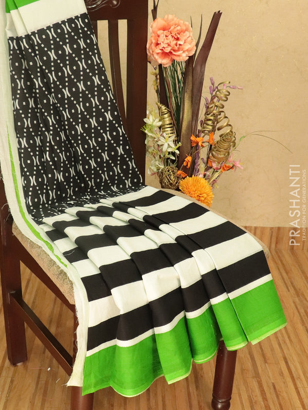 Jaipur cotton saree black white and green with allover prints and plain border