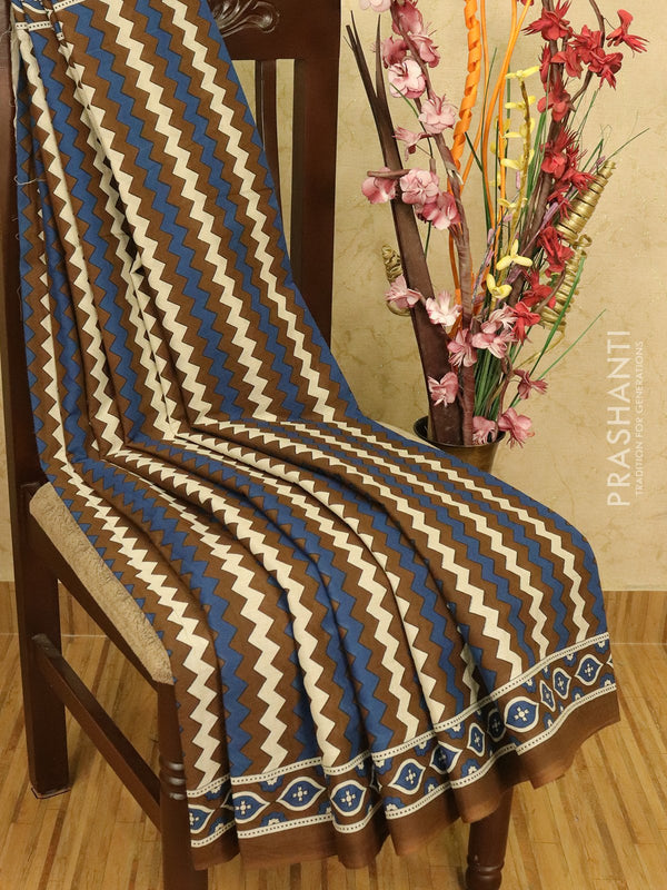Jaipur cotton saree brown blue and white with zig zag prints and printed border