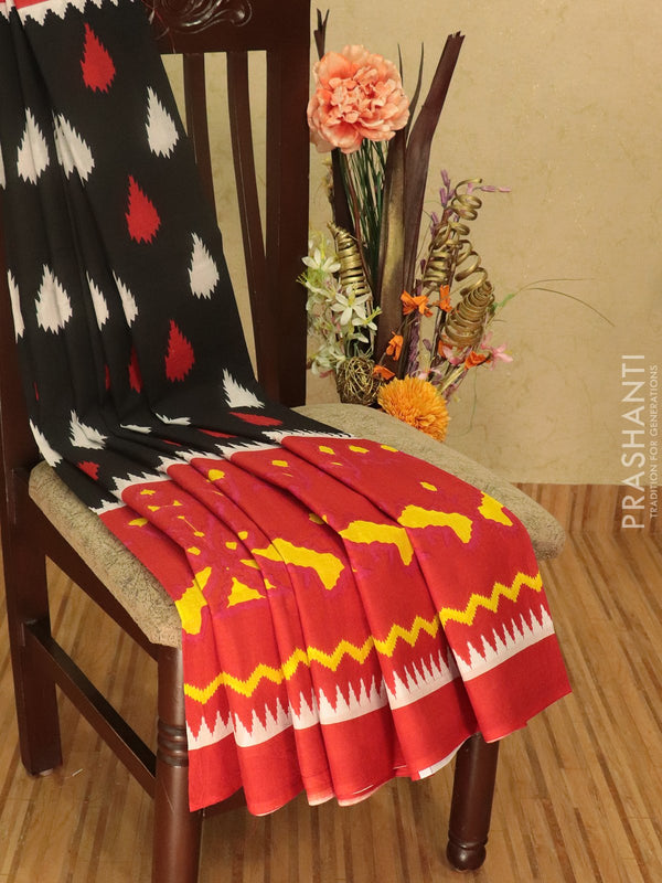 Jaipur cotton saree black and red with allover prints and temple style border