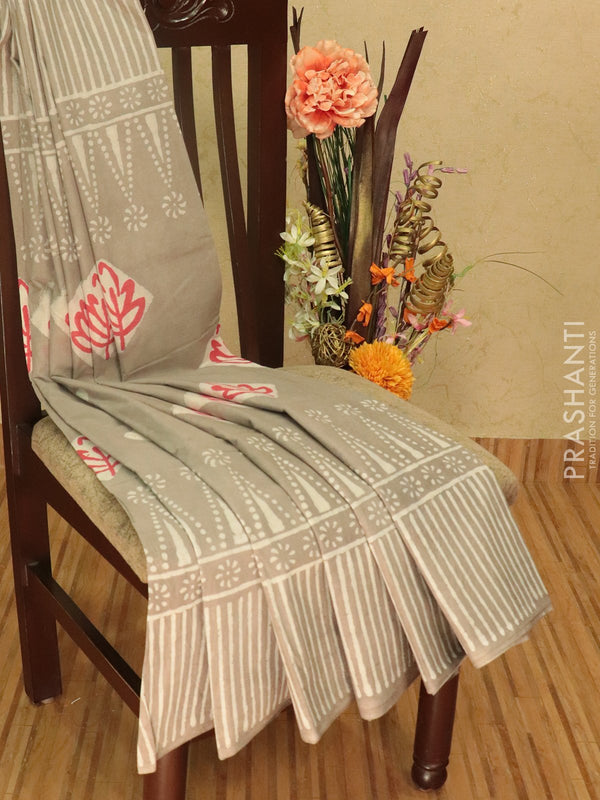 Jaipur cotton saree grey with floral prints and printed border
