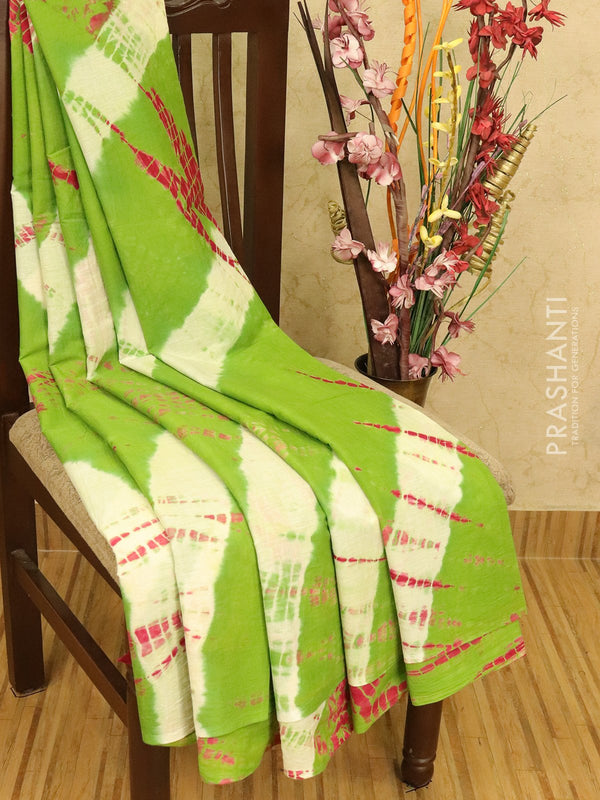 Jaipur cotton saree green with tie and dye prints in borderless style