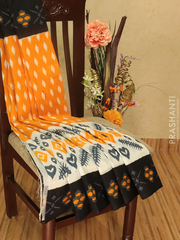 Jaipur cotton saree orange white and black with allover prints and simple border