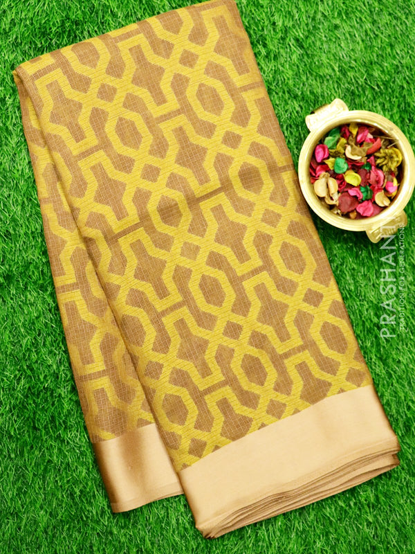 Brasso Kota Saree Biscuit Colour with geometric weaves and Satin Border