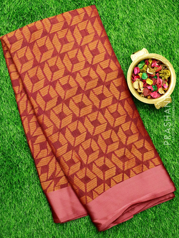 Brasso Kota Saree Wine Colour with geometric weaves and Satin Border