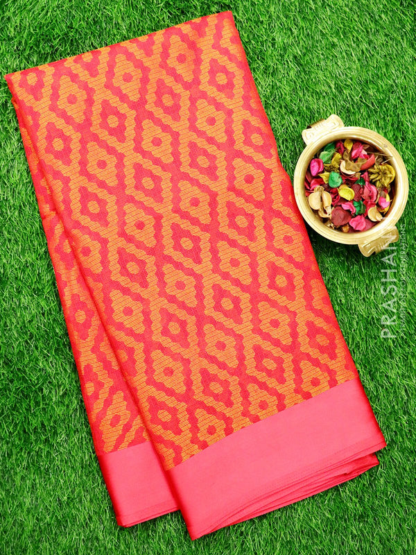 Brasso Kota Saree Hot Pink with geometric weaves and Satin Border