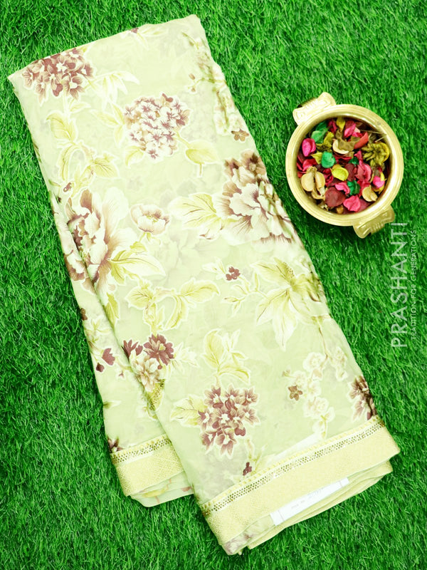 Brasso Semi Silk Saree Pista Green with Zari woven border and stone work for Rs.Rs. 2175.00 | Brasso by Prashanti Sarees
