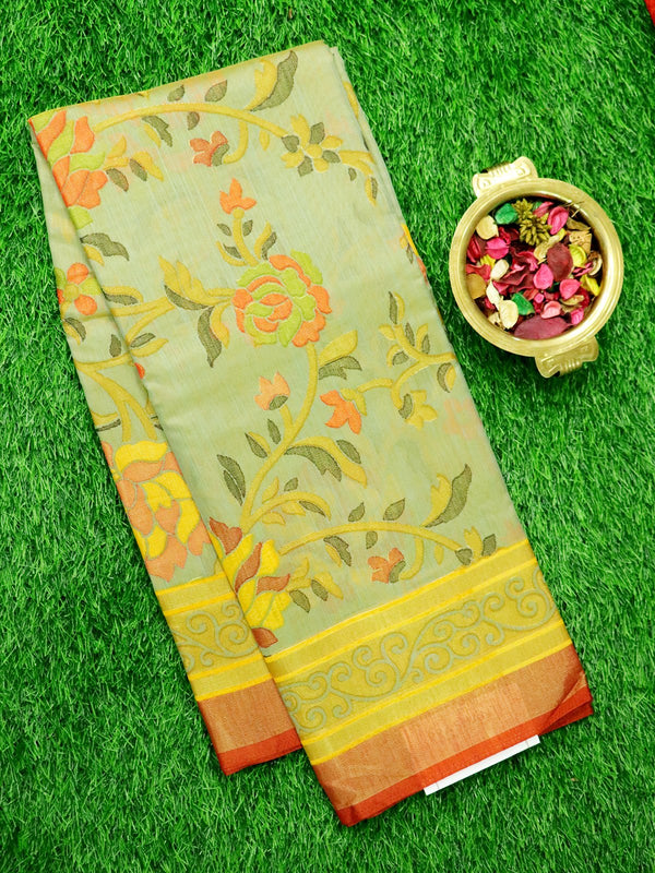 Brasso Saree Green and red with floral weaving