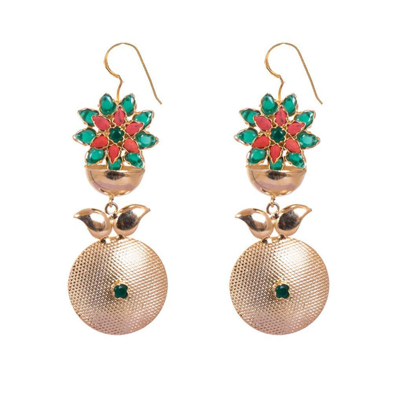 Gold Plated Stones Statement Earrings