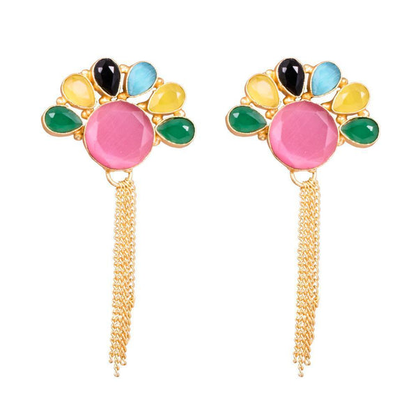 Stylish Multicolour Stone Statement Earrings