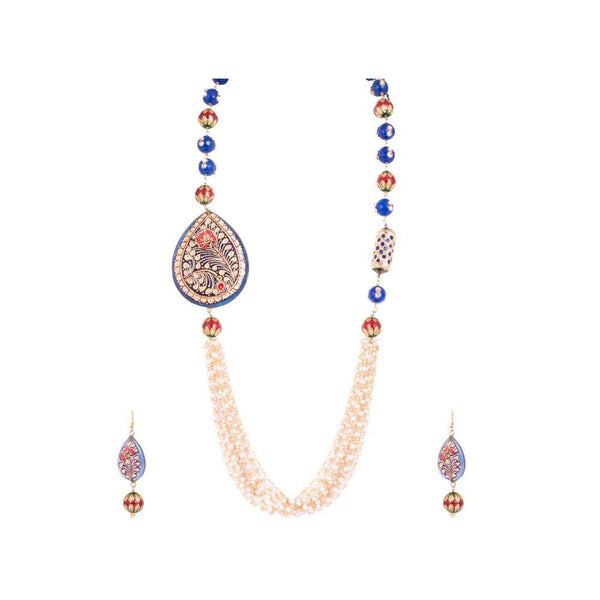 Multicolour Beaded With Glass Pendant Set
