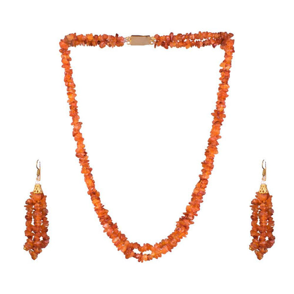 Long Cut Stones Orange Beads