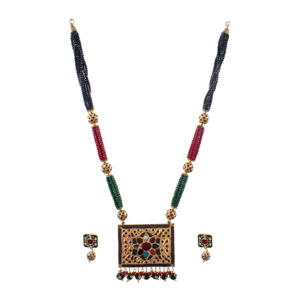 Dazzle Beaded Rectangular Pendant Set
