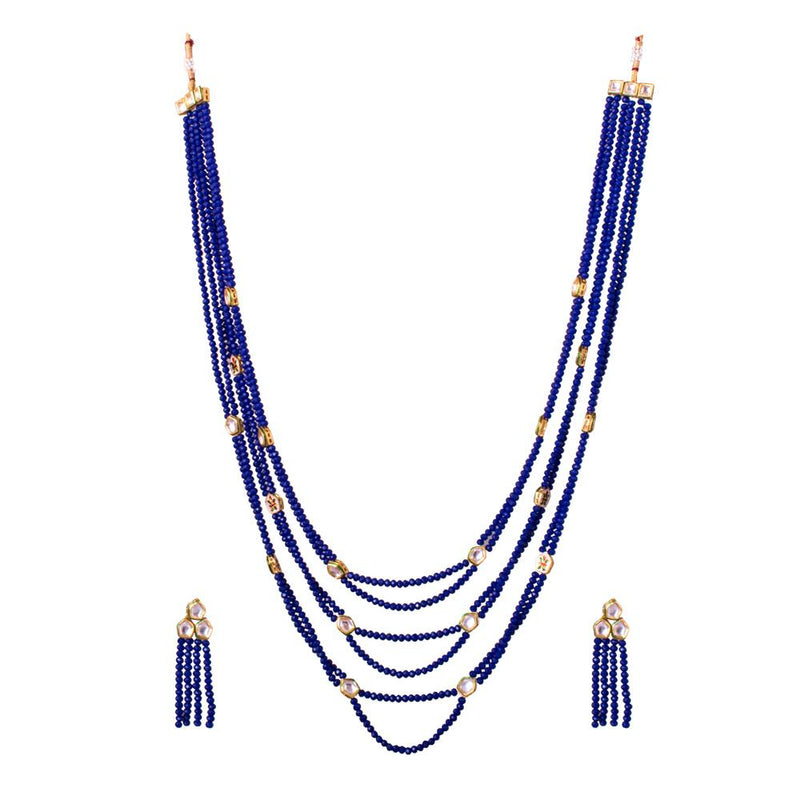 Classy Blue Beaded And Kundan Layered Set